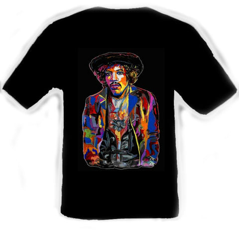 Jimi Hendrix Black T-Shirt artwork by Erik the Artist