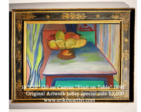 Fruit on Table Original Oil on Canvas