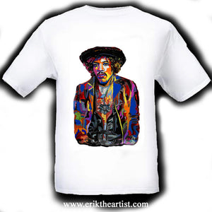 Jimi Hendrix White T-Shirt artwork by Erik the Artist