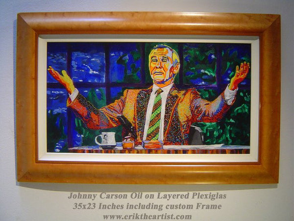 Johnny Carson Oil on Plexiglass original painting by Erik the Artist