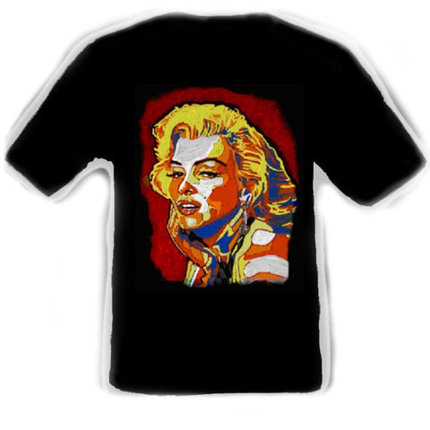 Marilyn Monroe Black T-Shirt artwork by Erik the Artist