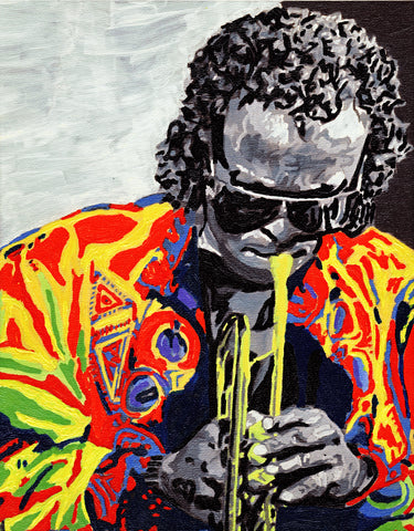 Miles Davis Hand Painted Embellished