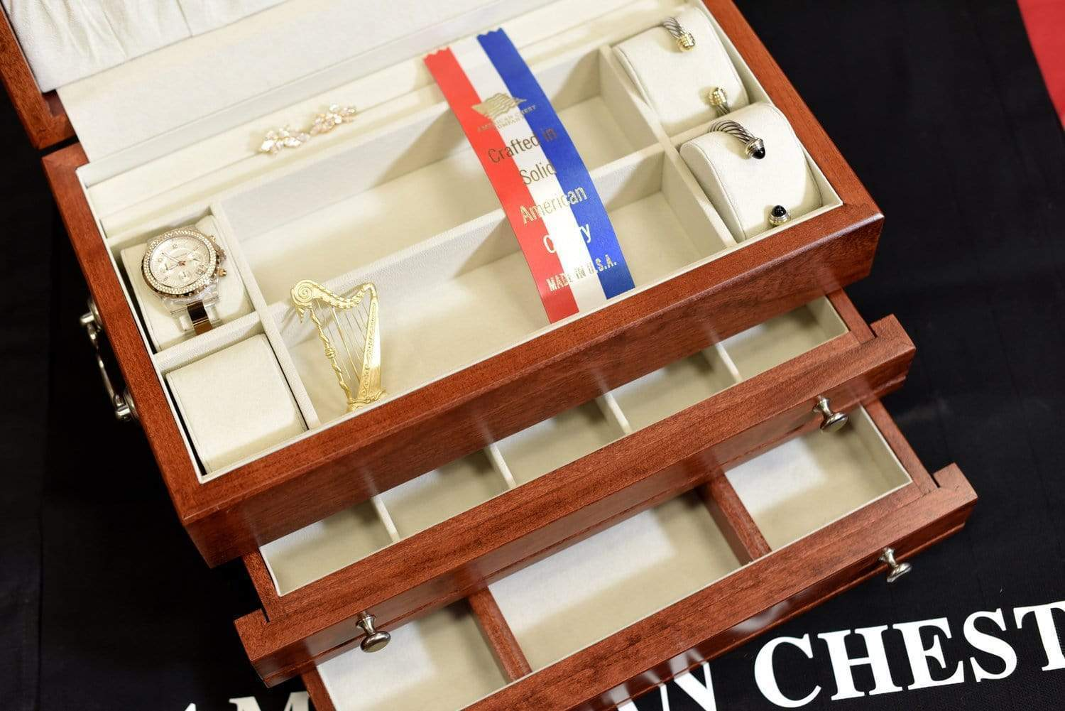 American Chests #J02 FIRST LADY - 2 Draw Jewelry Chest Armadillo Safe and Vault