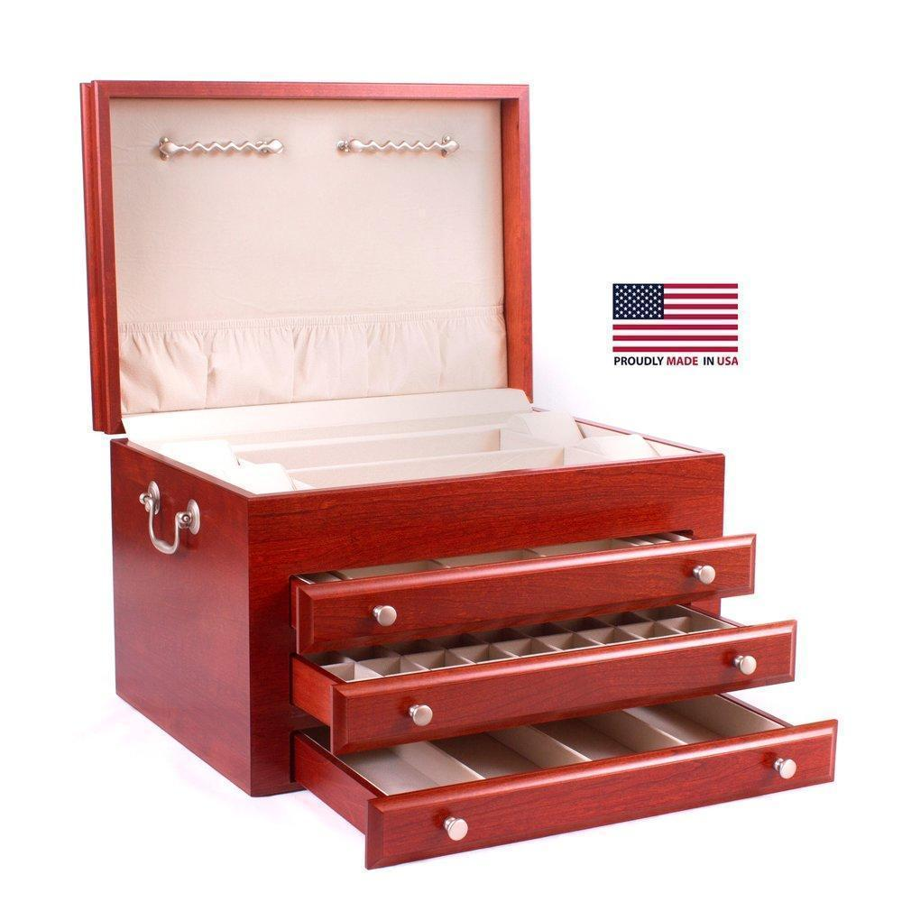 American Chests #J03 MAJESTIC - 3 Draw Jewelry Chest Armadillo Safe and Vault