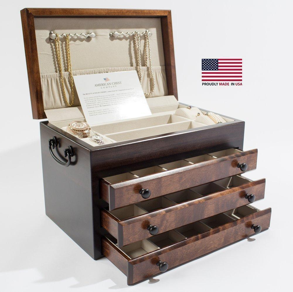 American Chests #JFB3 Exotic Flaming AMISH Birch; 3-Drwr Jeweler: AMISH Crafted Armadillo Safe and Vault