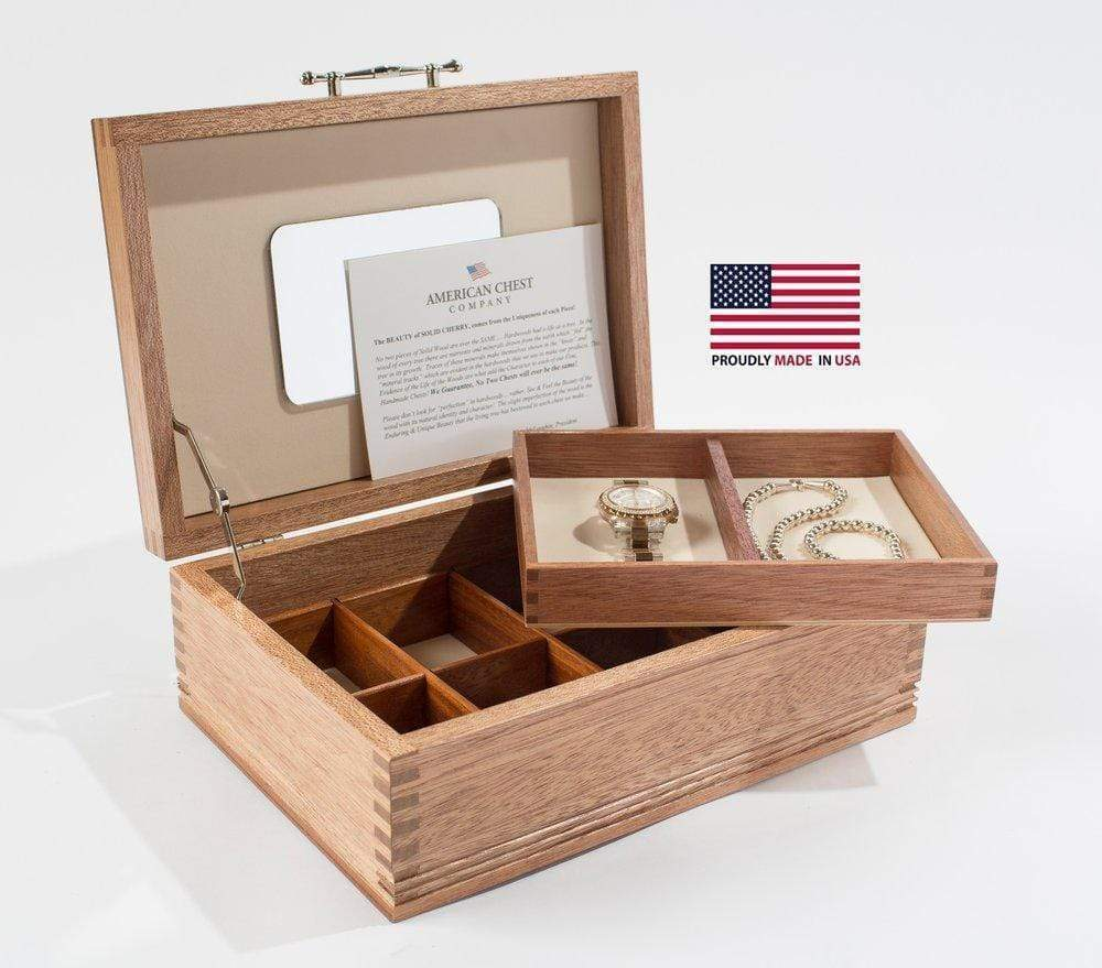 American Chests #JNE00 American, Solid Mahogany Jewel Chest; Made in USA! Armadillo Safe and Vault
