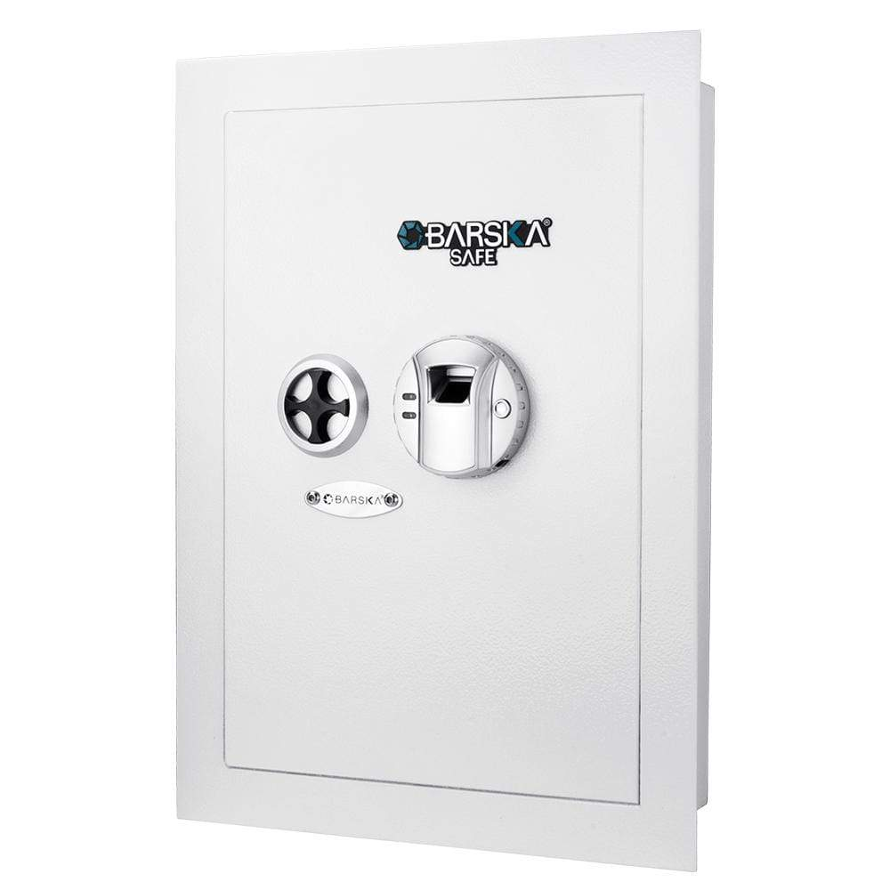 Barska White Biometric Wall Safe Armadillo Safe and Vault
