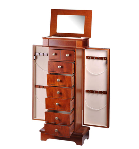 Copy of Diplomat Cherry Wood Finish Jewelry Armoire Charging Station with 5 Drawers and 2 Side Doors For Storing All Types Of Jewelry With Cream Felt Interior Armadillo Safe and Vault