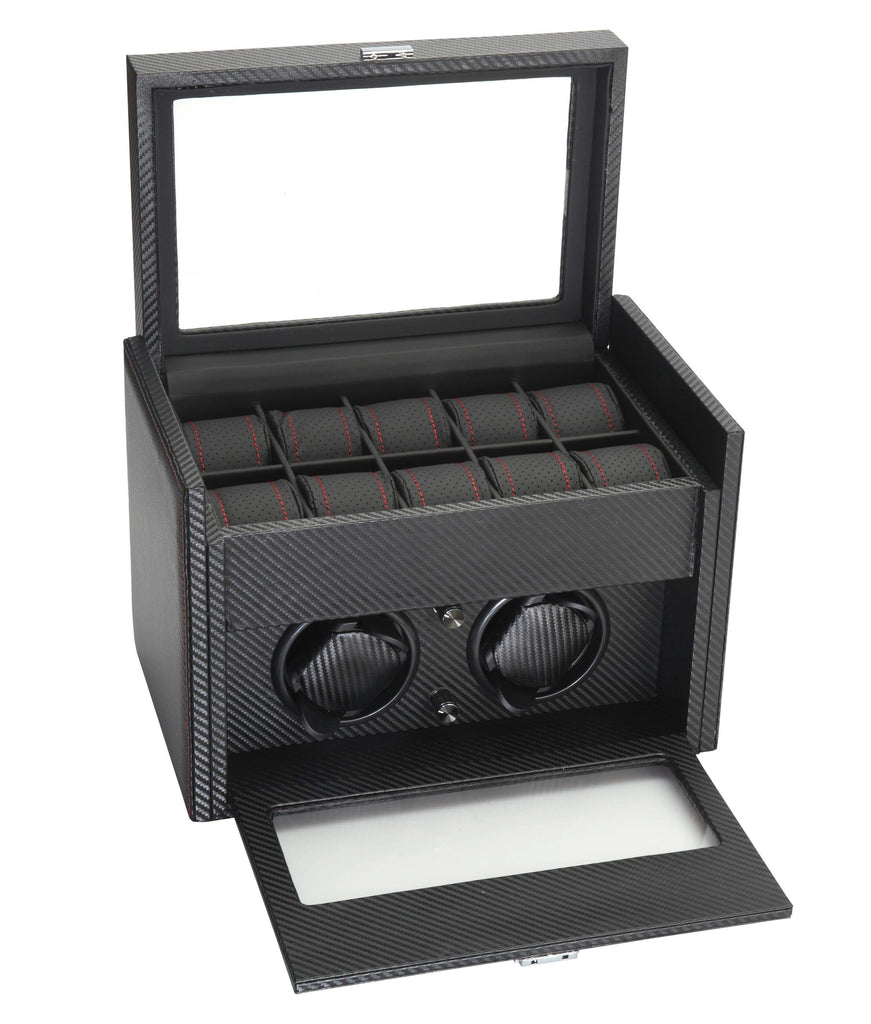 Diplomat Black Carbon Fiber Pattern Double Watch Winder with Black Leatherette Interior and Additional Storage for 10 Watches and Smart Internal Bi-Directional Timer Control Armadillo Safe and Vault