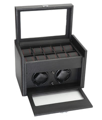 Image of Diplomat 34-702 Black Carbon Fiber Double Watch Winder with Additional Storage