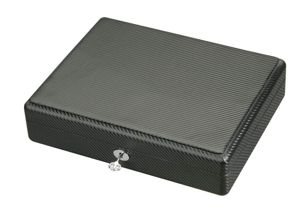 Diplomat Black Carbon Fiber Pattern Eighteen Watch Case with Black Suede Interior Armadillo Safe and Vault