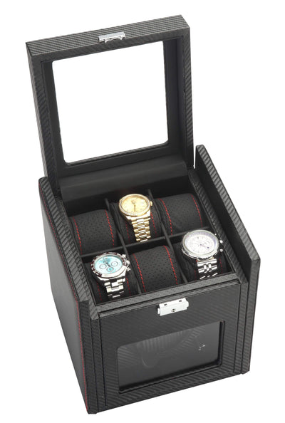 Diplomat Black Carbon Fiber Pattern Single Watch Winder with Black Leatherette Interior and Additional Storage for 6 Watches and Smart Internal Bi-Directional Timer Control Armadillo Safe and Vault