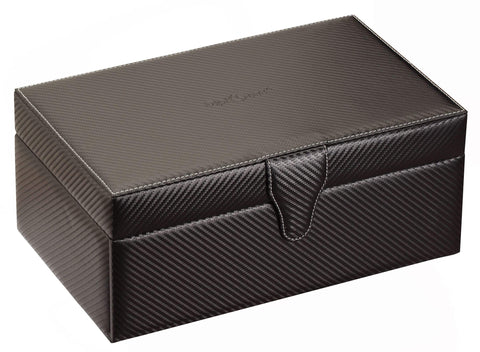 Diplomat Black Carbon Fiber Pattern Ten Watch Case with Gray Suede Interior and Watch Tool Kit Drawer With Tools Included Armadillo Safe and Vault