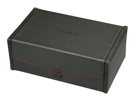 Diplomat Black Carbon Fiber Pattern Ten Watch Case with Red Stitching and Black Suede Interior and Removable Trays Armadillo Safe and Vault