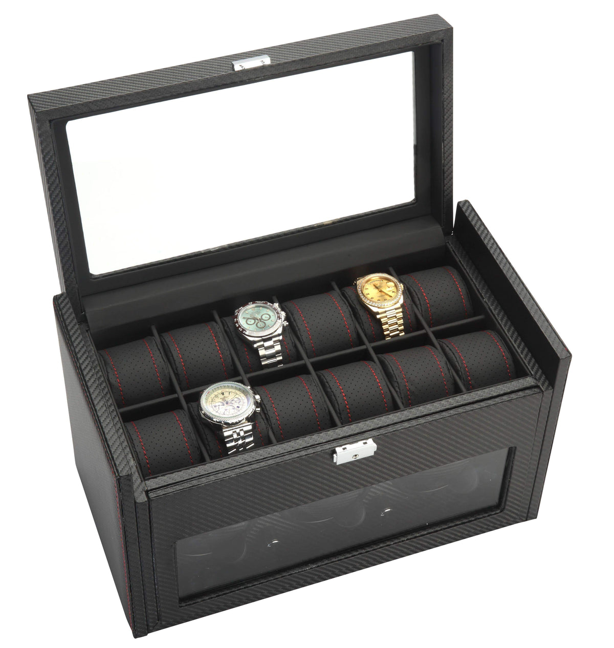 Diplomat Black Carbon Fiber Pattern Three Watch Winder with Black Leatherette Interior and Additional Storage for 12 Watches and Smart Internal Bi-Directional Timer Control Armadillo Safe and Vault