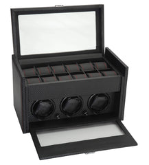 Diplomat 34-703 Black Carbon Fiber  Three Watch Winder Additional Storage