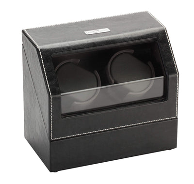 Diplomat Black Leather Double Watch Winder with Gray Microfiber Suede Interior and Smart Internal Bi-Directional Timer Control, Battery/AC Powered Armadillo Safe and Vault