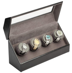 Diplomat 34-504 Black Leather Quad Watch Winder