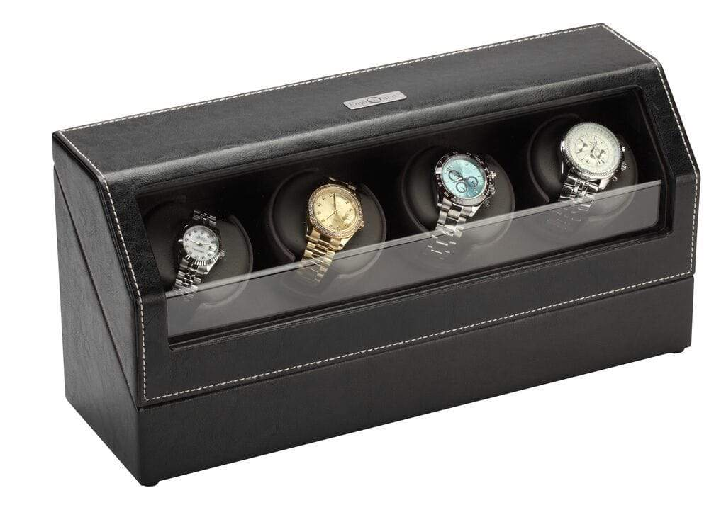 Diplomat Black Leather Quad Watch Winder with Gray Microfiber Suede Interior and Smart Internal Bi-Directional Timer Control Armadillo Safe and Vault