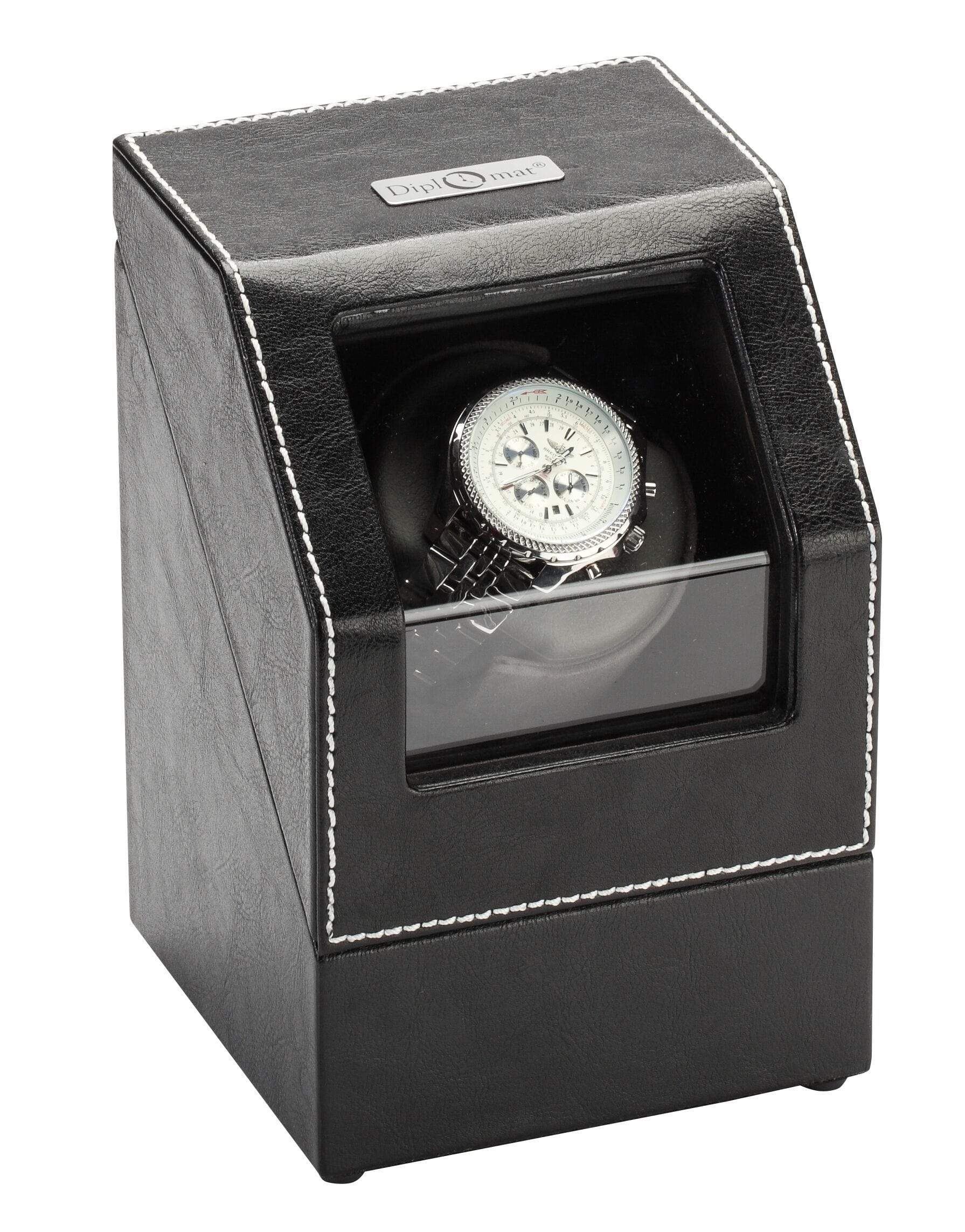 Diplomat Black Leather Single Watch Winder with Gray Microfiber Suede Interior and Smart Internal Bi-Directional Timer Control, Battery/AC Powered Armadillo Safe and Vault