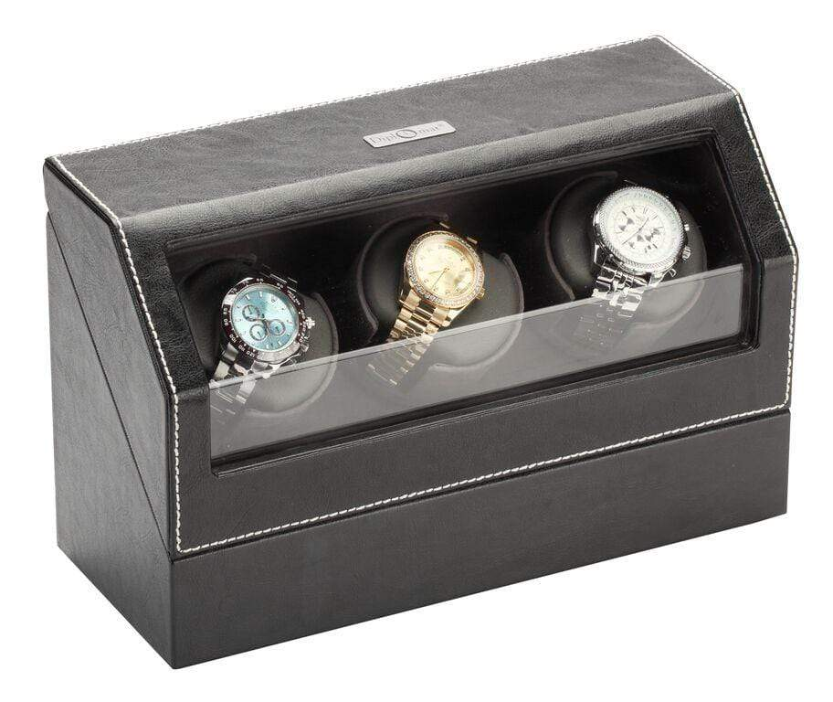 Diplomat Black Leather Triple Watch Winder with Gray Microfiber Suede Interior and Smart Internal Bi-Directional Timer Control Armadillo Safe and Vault