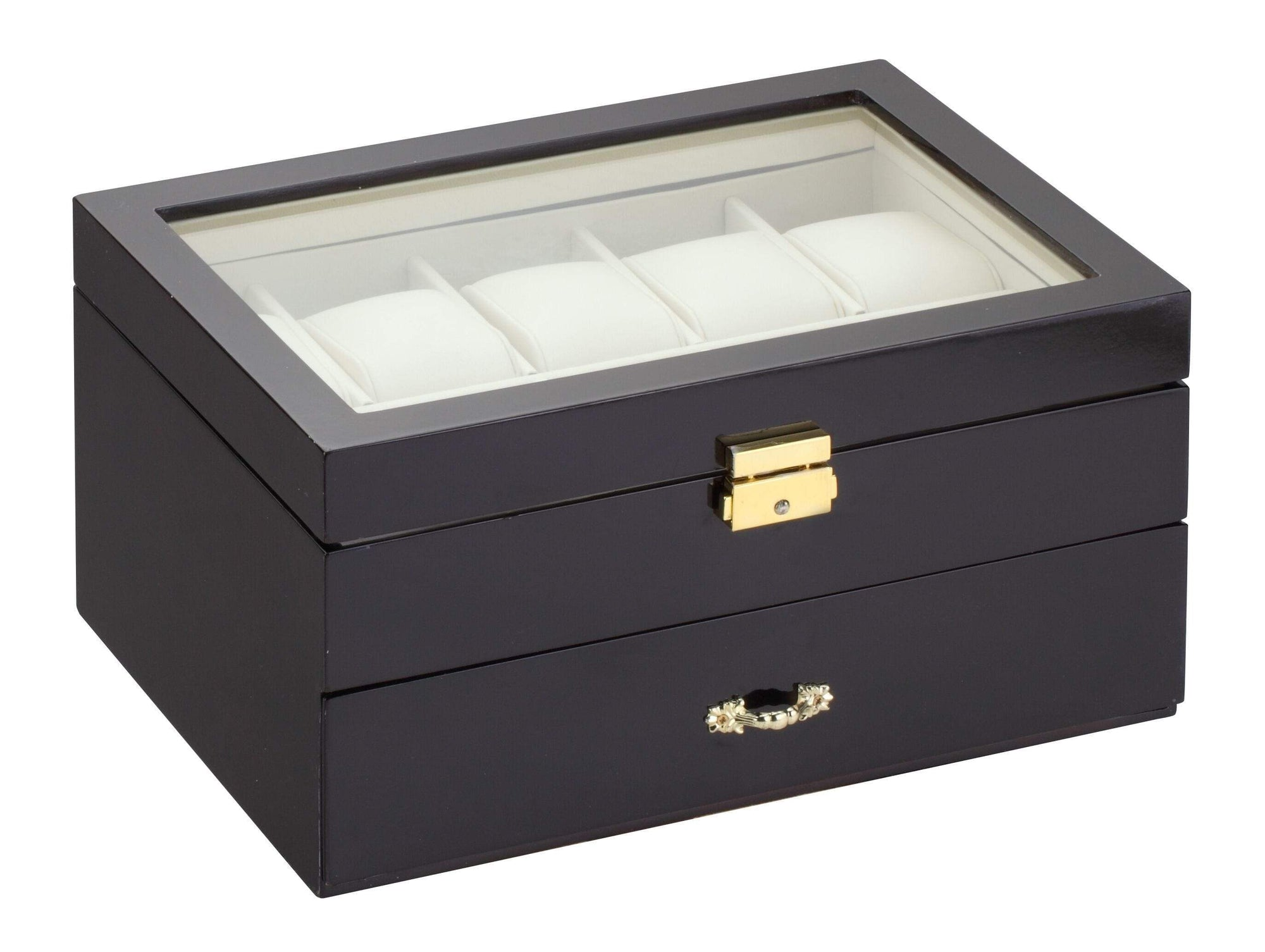 Diplomat Black Wood Finish Ten Watch Case with Cream Leatherette Interior and Drawer With Pen and Cufflink Storage Armadillo Safe and Vault