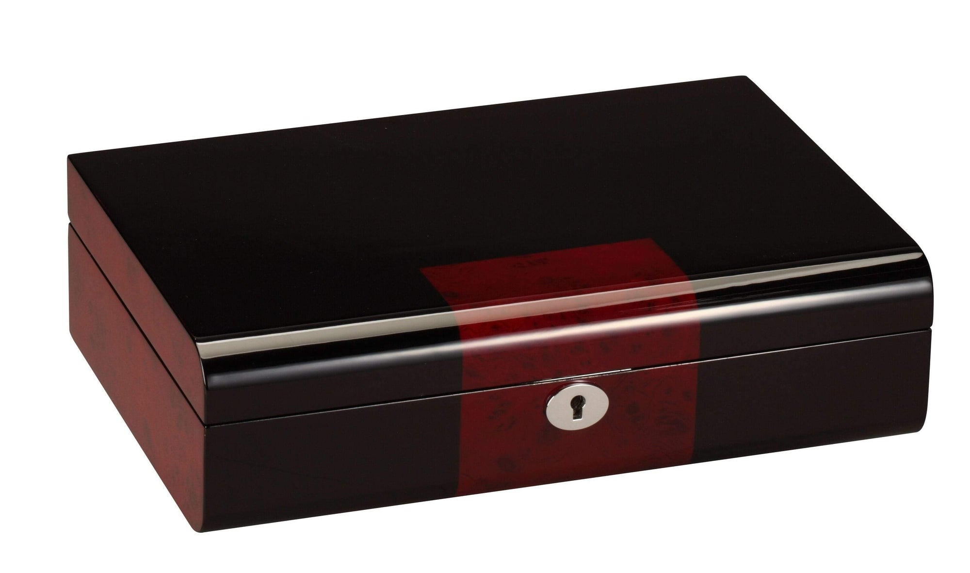 Diplomat Black Wood Finish Ten Watch Storage Case with Cherry Wood Finish Accents and Soft Microfiber Black Suede Interior Armadillo Safe and Vault