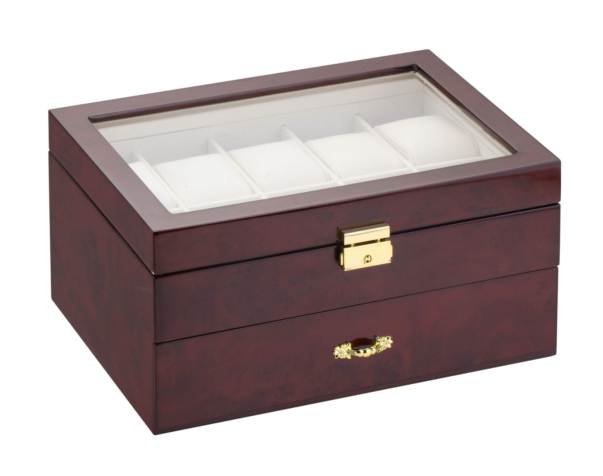 Diplomat Burl Wood Finish Ten Watch Case with Cream Leatherette Interior and Drawer With Pen and Cufflink Storage Armadillo Safe and Vault