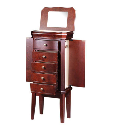 Diplomat Cherry Wood Finish Jewelry Armoire Charging Station with 5 Drawers and 2 Side Doors For Storing All Types Of Jewelry With Cream Felt Interior Armadillo Safe and Vault