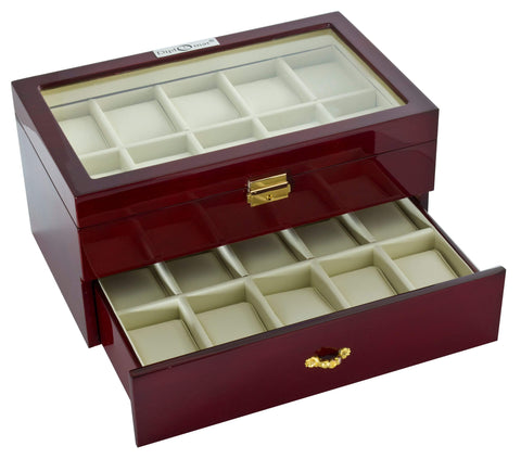 Diplomat Cherry Wood Finish Twenty Watch Case With Cherry Leatherette Interior and Locking Lid Armadillo Safe and Vault