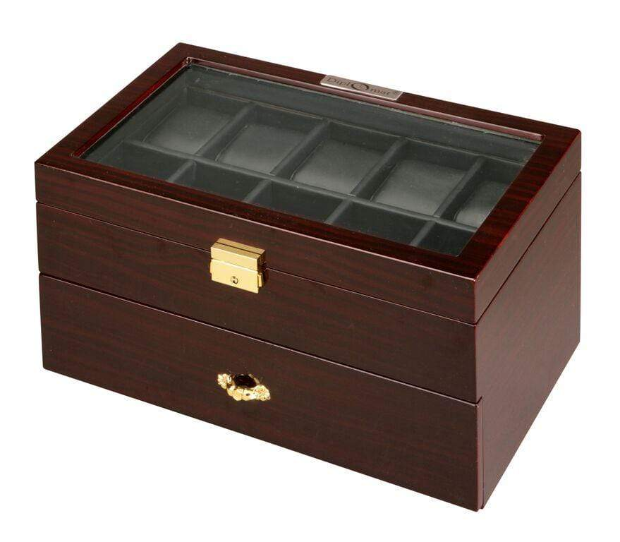 Diplomat Ebony Wood Finish Twenty Watch Case With Black Leatherette Interior and Locking Lid Armadillo Safe and Vault