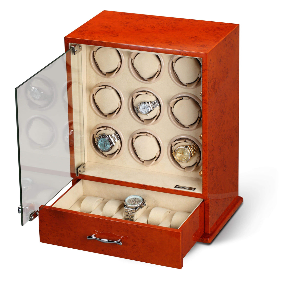 Diplomat Estate Burl Wood Finish Nine Watch Winder with Cream Interior and Additional Storage for 8 Watches and Smart Internal Bi-Directional Timer Control Armadillo Safe and Vault