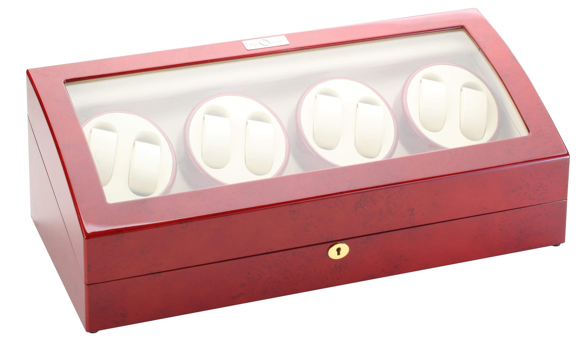 Diplomat Estate Cherry Wood Finish Eight Watch Winder with Cream Interior and Additional Storage for 9 Watches and Smart Internal Bi-Directional Timer Control Armadillo Safe and Vault