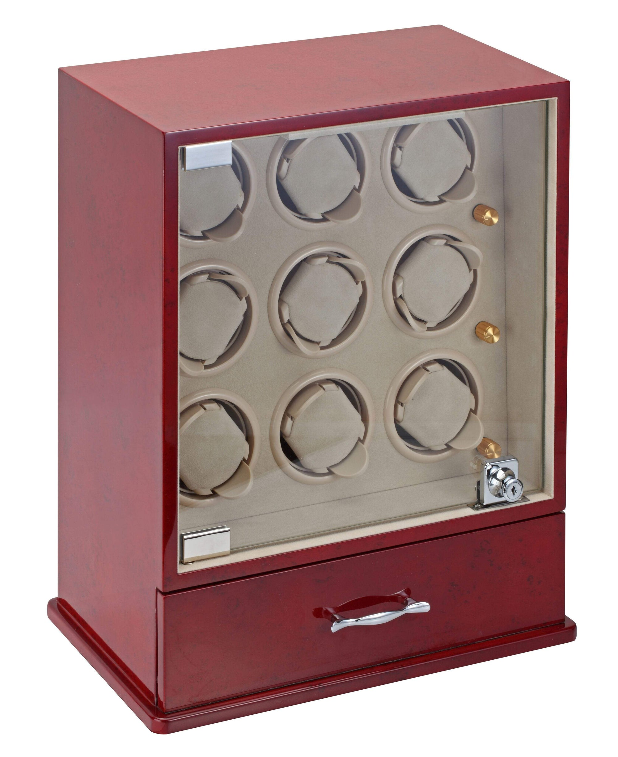 Diplomat Estate Cherry Wood Finish Nine Watch Winder with Cream Interior and Additional Storage for 10 Watches and Smart Internal Bi-Directional Timer Control Armadillo Safe and Vault