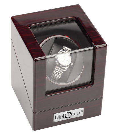 Diplomat Estate Ebony Wood Finish Single Watch Winder with Cream Interior and Smart Internal Bi-Directional Timer Control, Battery/AC Powered Armadillo Safe and Vault