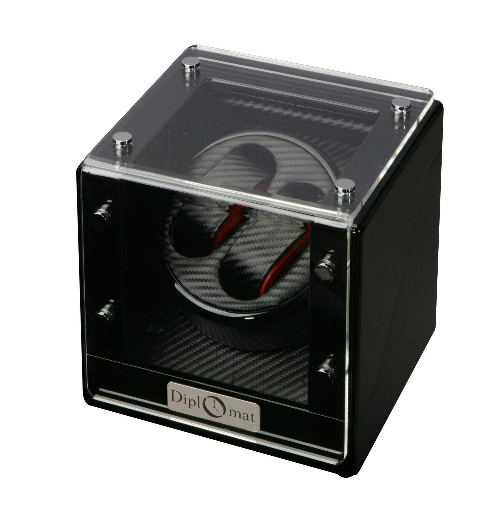 Diplomat Gothica Black Wood Double Watch Winder with Black Carbon Fiber Pattern Interior and Smart Internal Bi-Directional Timer Control, Battery/AC Powered Armadillo Safe and Vault