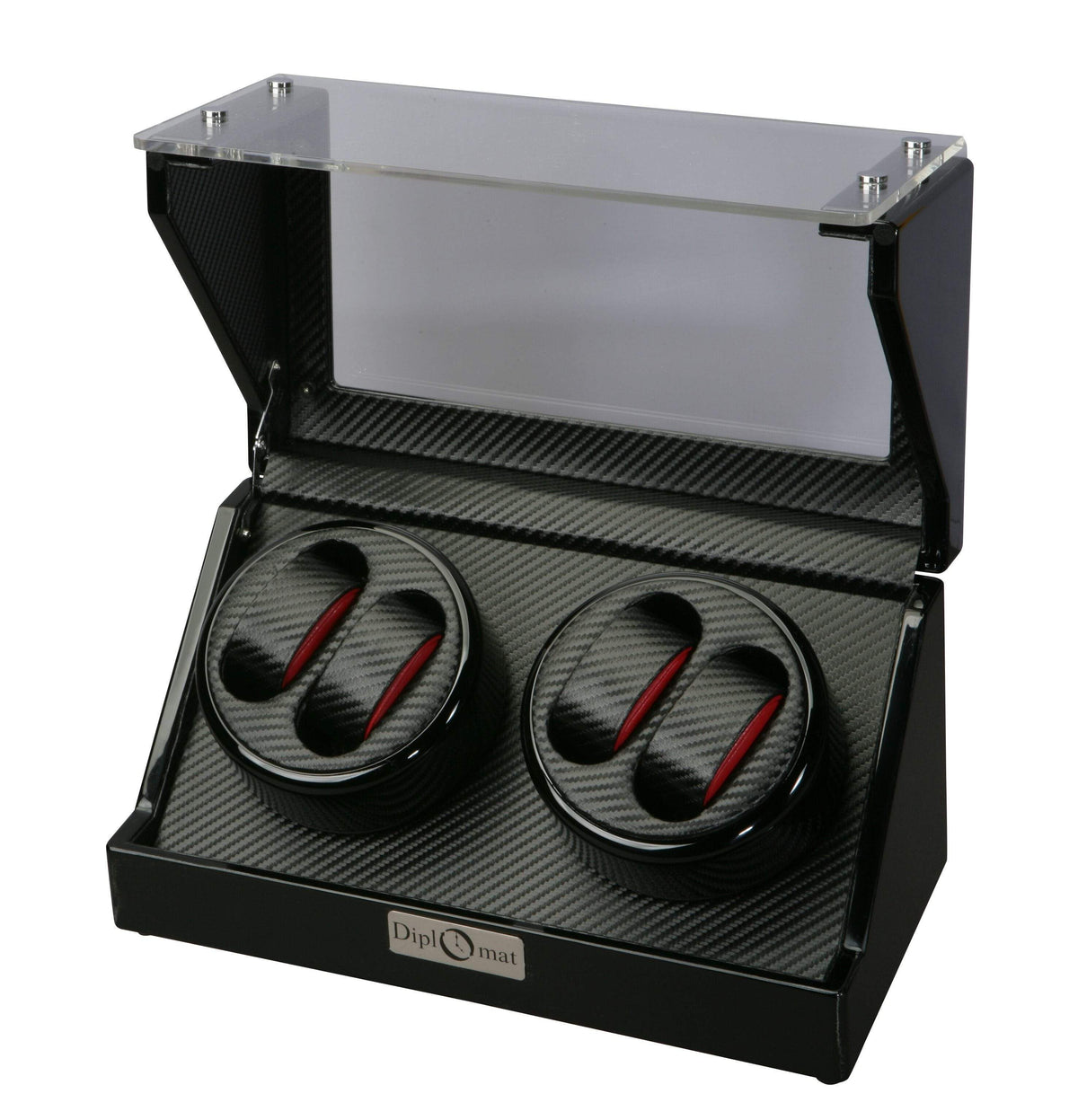 Diplomat Gothica Black Wood Quad Watch Winder with Black Carbon Fiber Pattern Interior and Smart Internal Bi-Directional Timer Control , Battery/AC Powered Armadillo Safe and Vault