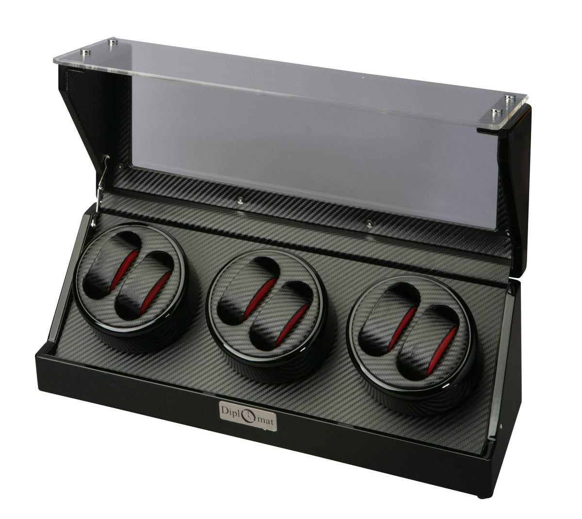 Diplomat Gothica Black Wood Six Watch Winder with Black Carbon Fiber Pattern Interior and Smart Internal Bi-Directional Timer Control Armadillo Safe and Vault