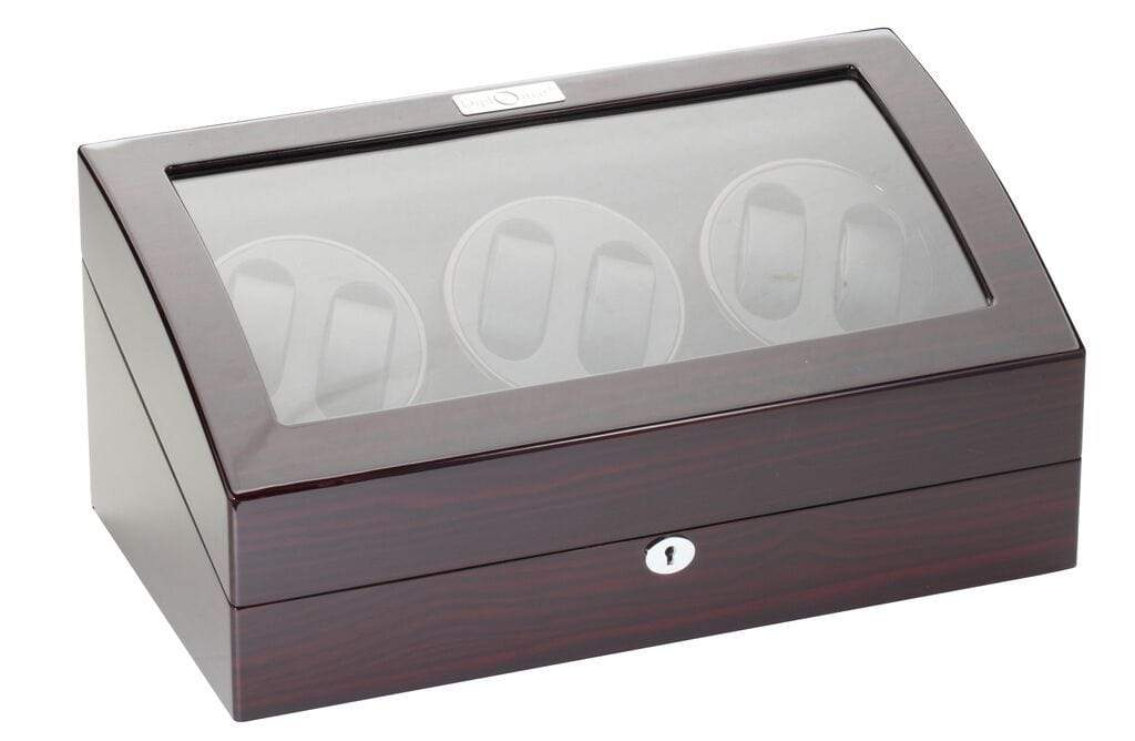 Diplomat Gothica Ebony Wood Finish Six Watch Winder with Black Interior and Additional Storage for 7 Watches and Smart Internal Bi-Directional Timer Control Armadillo Safe and Vault