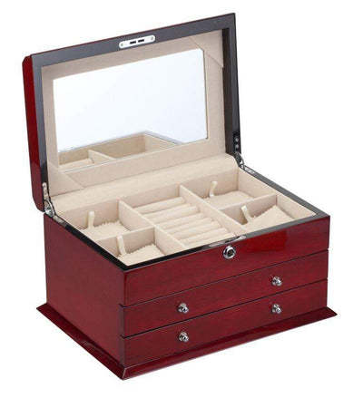 Diplomat High Gloss Cherry Wood Jewelry Chest With 2 Drawers and Locking Lid and Café Colored Suede Interior Armadillo Safe and Vault