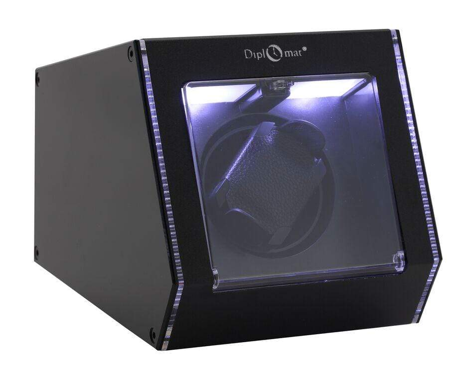 Diplomat Illuminum LED Lit Black Aluminum Expandable Single Watch Winder with Smart Internal Bi-Directional Timer Control Armadillo Safe and Vault
