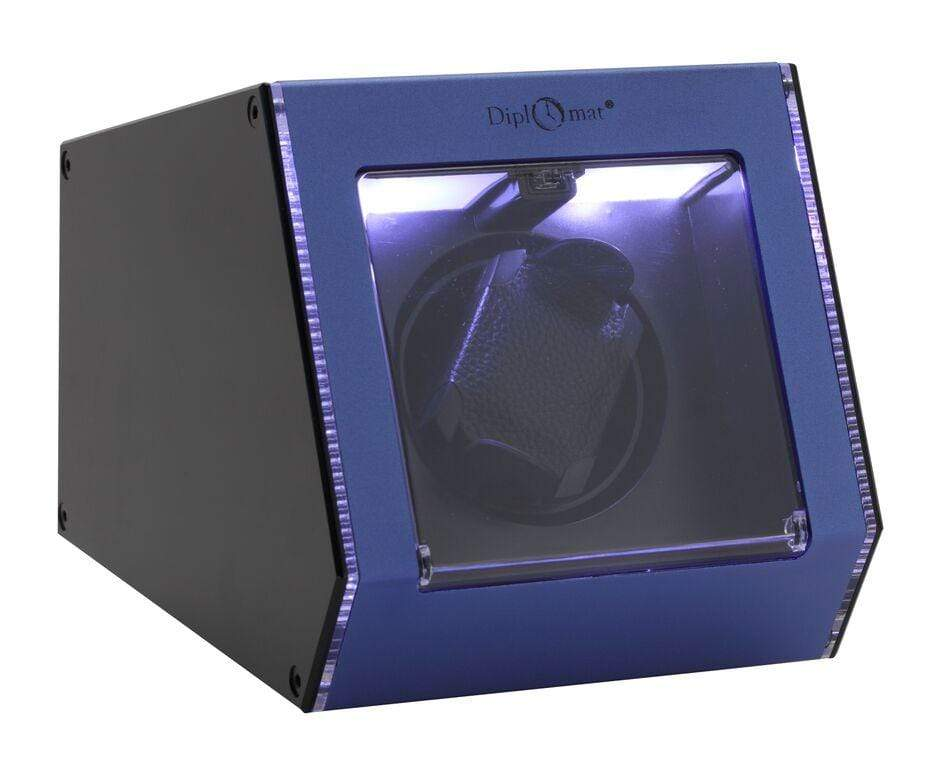Diplomat Illuminum LED Lit Blue Aluminum Expandable Single Watch Winder with Smart Internal Bi-Directional Timer Control Armadillo Safe and Vault