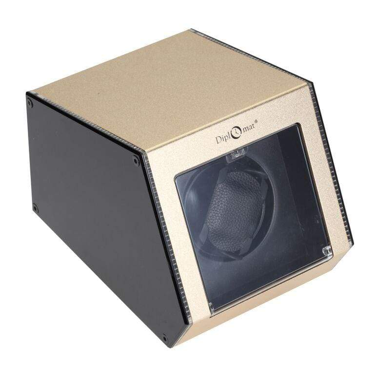 Diplomat Illuminum LED Lit Champagne Aluminum Expandable Single Watch Winder with Smart Internal Bi-Directional Timer Control Armadillo Safe and Vault
