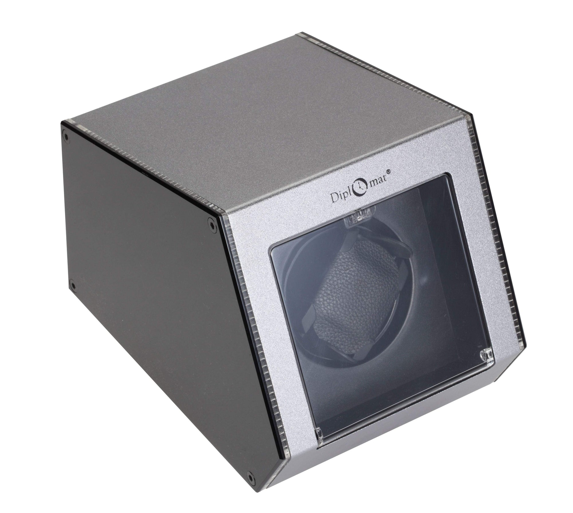 Diplomat Illuminum LED Lit Gray Aluminum Expandable Single Watch Winder with Smart Internal Bi-Directional Timer Control Armadillo Safe and Vault