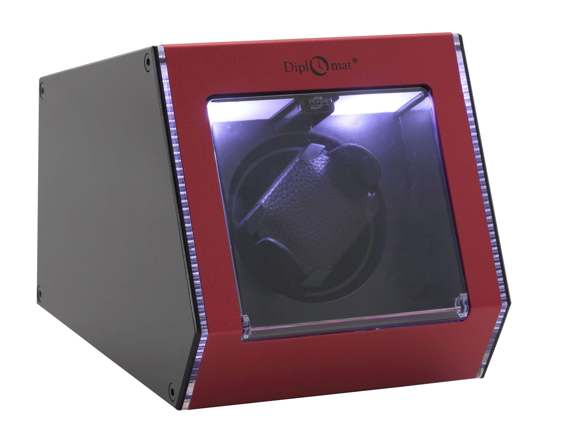 Diplomat Illuminum LED Lit Red Aluminum Expandable Single Watch Winder with Smart Internal Bi-Directional Timer Control Armadillo Safe and Vault