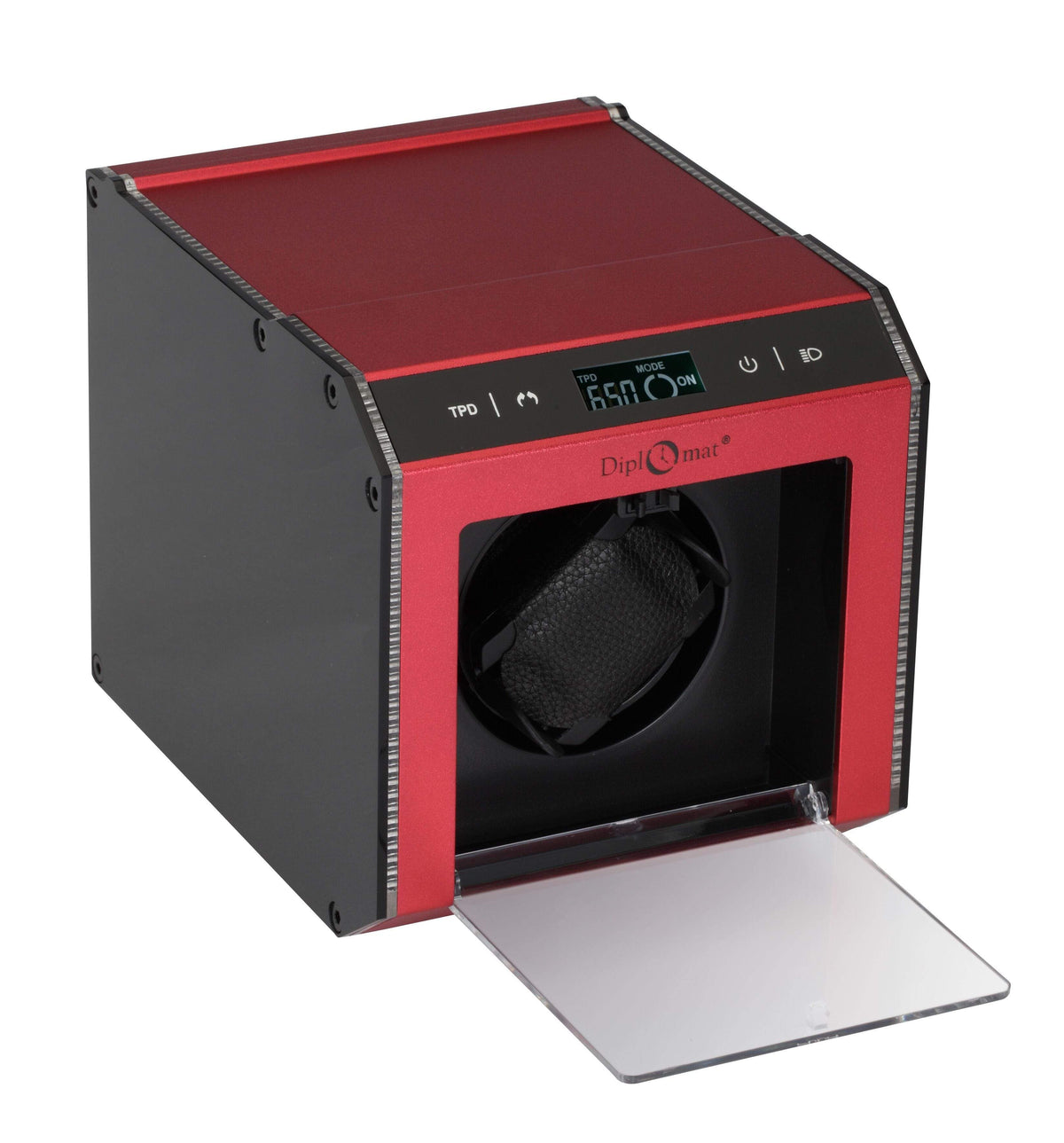 Diplomat Illuminum LED Lit Red Aluminum Expandable Single Watch Winder with Smart Internal Bi-Directional Timer Control and Touch Sensor Display Armadillo Safe and Vault