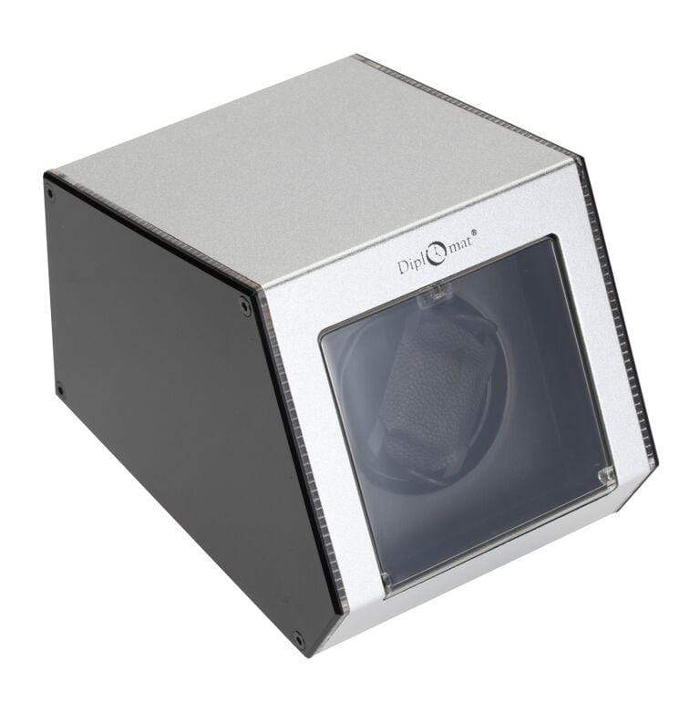 Diplomat Illuminum LED Lit Silver Aluminum Expandable Single Watch Winder with Smart Internal Bi-Directional Timer Control Armadillo Safe and Vault