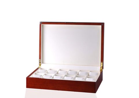 Diplomat Mahogany Wood Twelve Watch Storage Case with Soft Cream Leatherette Interior Armadillo Safe and Vault