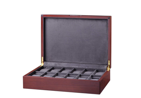 Diplomat Mahogany Wood Twelve Watch Storage Case with Soft Microfiber Charcoal Suede Interior Armadillo Safe and Vault