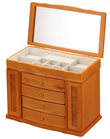 Diplomat Oak Wood Finish Jewelry Chest With 4 Drawers and 2 Side Doors and Cream Felt Interior Armadillo Safe and Vault
